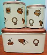 Vintage Metal Bread Box W/ Hinged Lid 2 Canister Set Flour And Sugar Copper Lids