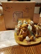 Cherished Teddies Early Rare Christopher 950483 Retired Bear Toy Chest Figurine