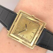 Vintage 18ct Gold Square Omega Gents Watch Square Case 27x27mm