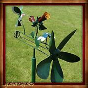 Hummingbird And Dragonfly Whirligig Wind Powered Kinetic Yard Deco Spinner New
