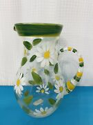 Vintage Hand Painted Daisy Pitcher