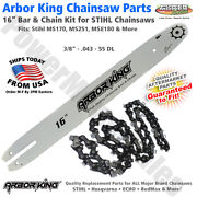"""16"""" Chainsaw Bar And Chain Combo 3/8 .043 55 Dl Stihl 3005 008 3913, 3610 005 0055"""