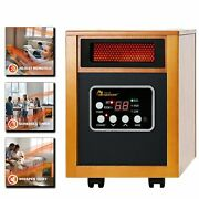 Infrared Quartz Heater Cabinet Wood Whit Remote Energy Efficient Portable Wheels