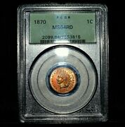 1870 Indian Head Cent ✪ Pcgs Ms-64-rd ✪ 1c Red Choice Uncirculated 815 ◢trusted◣