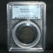1794 Liberty Cap Large Cent ✪ Pcgs Vf Detail ✪ 1c Head Of 94 Flowing ◢trusted◣