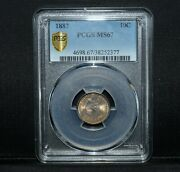 1887-p Seated Liberty Dime ✪ Pcgs Ms-67 ✪ 10c Silver Gem Unc Bu F-115 ◢trusted◣
