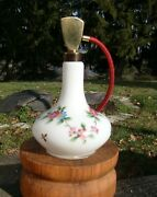 Irice Hand-painted Cased Milk Glass Perfume Bottle Atomizer W.germany - 7