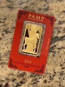 1 Oz Gold Bar - Pamp Year Of The Horse 2014 - Suisse Gold Bar In Assay