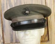Ww Ii Usmc Officerand039s Forest Green Hat Cap Near Mint Condition Large Size