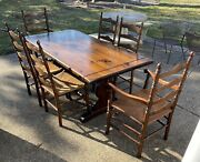 Vintage Ethan Allen Antiqued Pine Dining Table 6 Ladder Back Rush Chairs 12-6003