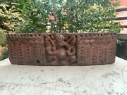 Antique Old Wooden Hand Carved Collectible Hindu Lord Ganesh Old Wall Door Panel