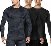 Tsla Menand039s Cool Dry Fit Long Sleeve Compression Shirts Athletic Workout Shirt