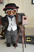 The London Owl Company Photographer Figure With Wood Camera Ontripod-stand-colle