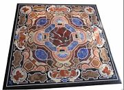 48 Marble Dining Table Top Inlay Rare Semi Antique Center Coffee Table Ar0686