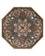 48 Marble Dining Table Top Inlay Rare Semi Antique Center Coffee Table Ar0697