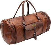24 Inch Vintage Leather Bags Luggage Duffel Large Travel Carry On Gym Bag