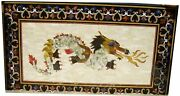 48 Marble Dining Table Top Inlay Rare Semi Antique Center Coffee Table Ar0718
