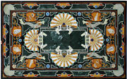 48 Marble Dining Table Top Inlay Rare Semi Antique Center Coffee Table Ar0719
