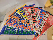 Lot Of 8 Vintage Nhl Wincraft Team Pennants Whalers Nordiques Devils Oilers