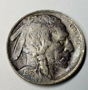 1916 2 Feathers Fs-402 Buffalo Nickel Discolored Obverse