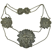 Unger Brothers Sterling Silver Sitting Bull Indian Chief Complete Belt