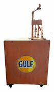 Vintage Gulf Oil Lubester Working Bowser Pump With Gallon Gulf Oil 65 Gallon