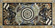 52 Marble Dining Table Top Inlay Rare Semi Antique Center Coffee Table Ar0738