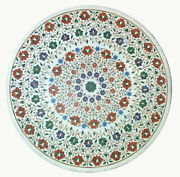 36 Marble Dining Table Top Inlay Rare Semi Round Center Coffee Table Ar0794