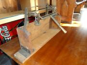 Scarce Antique Wood And Metal Table Top Cigar Tobacco Mold Press Man Cave