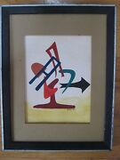 Geometric Modernist Abstract Kinetic Signed Wc Painting Daniel Kessler Listed