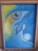Modernist Surrealist Alien Ufo Face Signed Franchini Latin American Oil Painting