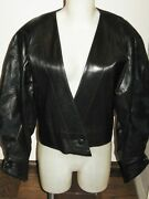 Claude Montana Iconic 80and039s Vintage Runway Black Leather And Suede Bomber Jacket