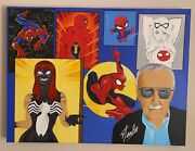 Stan Lee And Spider-man Painting Original Hand Painted 🎨 Signed By Stanlee 1 Of 1