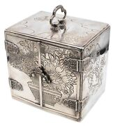 Japan Meiji Period 1868-1912 Sterling Silver Jewel Box With Compartments Drawers