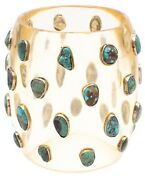 Modernist 1970and039s Bangle In Lucite Sterling Silver And 185 Ctw Of Blue Turquoise