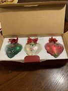"""Waterford Holiday Heirlooms """" Peace Love Joy"""" 3 Piece Set Christmas Ornaments"""