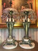 Pair Of Marble And Gilt Bronze Vintage 4 Light Lamp Candelabras