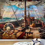 Kids Photo Wallpaper On The Deck Of A Pirate Ship Wall Mural 270x254cm.106x100