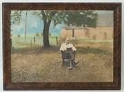 Antique Hand Colored Photograph Old Man In Rocking Chair Reading Book On Farm