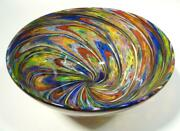 Hand Blown Glass Art Bowl Dirwood End Of Day + Glass Canes N3583