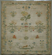 1812 Antique Dutch Silk On Linen Cross Stitch Needlework Sampler Angels Flowers