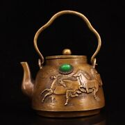 6.2 Collect Chinese Bronze Inlay Gem Eight Horse Picture Teapot Statues