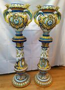 Pair Of Large Vases With Base. Enamelled Ceramic. Triana . Spain. Xix-xxth