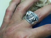 Vintage Handmade Sterling Silver Menand039s Ring. United States Air Force With A C. S