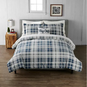 Cuddl Duds King Size Heavyweight Flannel Comforter Set Navy Gray Plaid