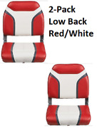 2-pack Low-back Boat Seat Folding Vinyl Aluminum Hinges Quality Red White
