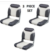 3-pack Low-back Boat Seat Folding Vinyl Aluminum Hinges Quality Charcoal White