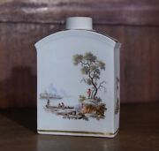 Zurich Tea Canister Finely Painted Hunt Scene C.1775