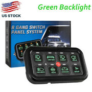 Green 8 Gang Switch Panel Relay Circuit Control System For Led Work Light Bar