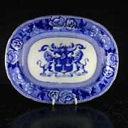 Riley Drapers Guild Armorial Blue And White Serving Dish C. 1820
